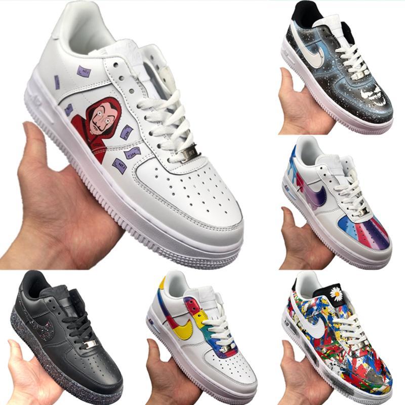 С Box 2020 AF1 Low Cut кожа Скейтборд обувь Origial AF1 Low Top Buffer Резинотехнические Встроенный зум воздуха Наполняющие Спортивная обувь
