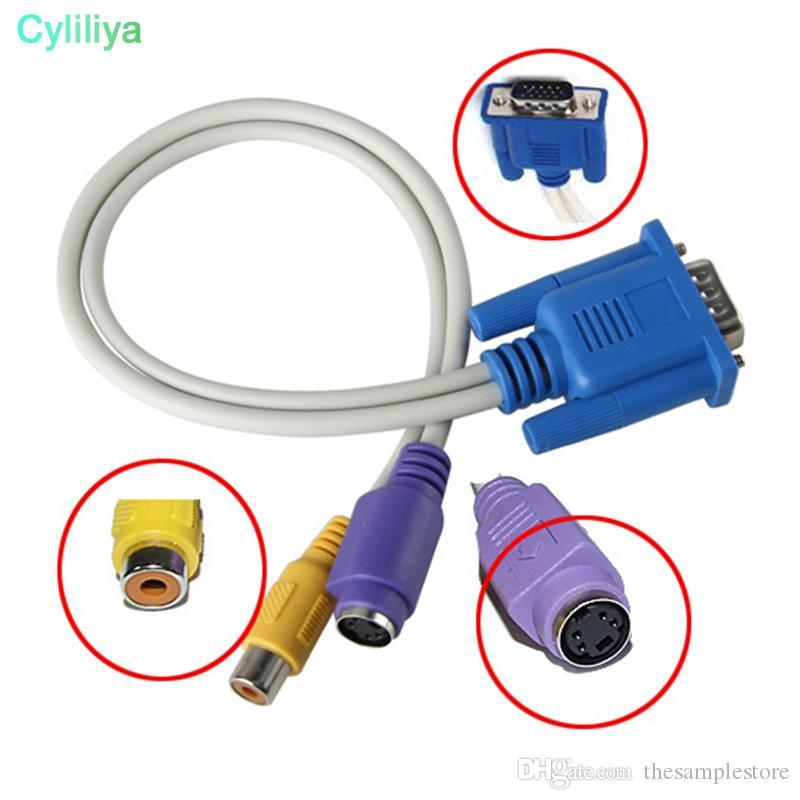 18 cm Yeni VGA Erkek TV S-Video RCA AV Dönüştürücü Kablo Adaptörü dizüstü ve masaüstü ile çalışmak (HL)