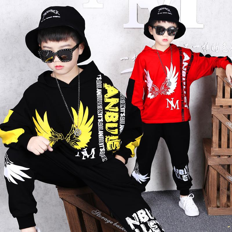 2 Sets Boys Sweater Autumn and Winter New Coat Children's Fashion Hooded Jacket Trousers Hip Hop Clothing Casual Two-piece