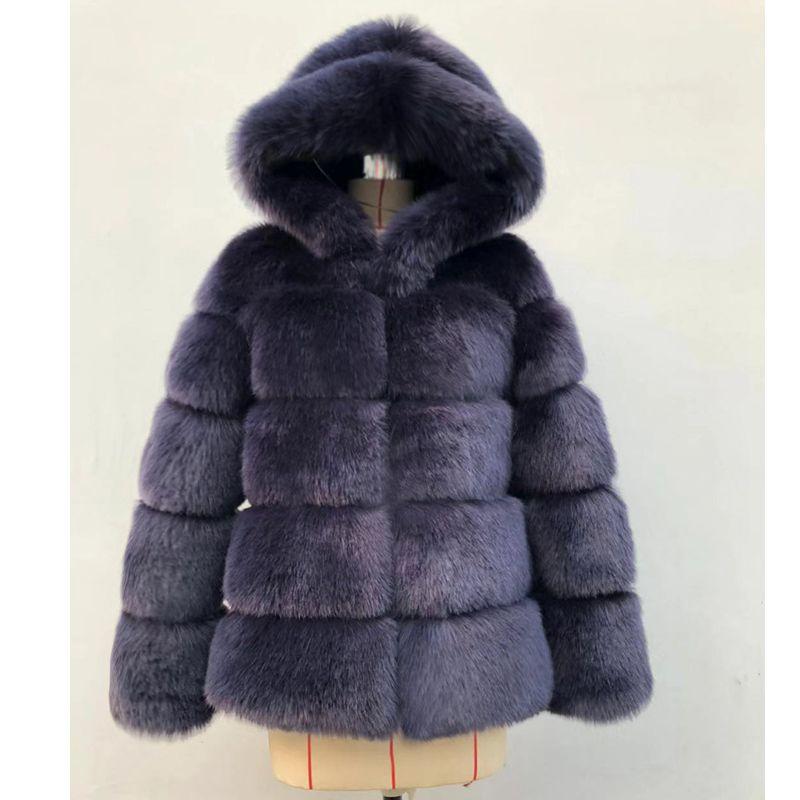 TIARAKA Inverno Grosso Quente Faux Fur Coat Mulheres Plus Size Com Capuz Manga Longa Jaqueta De Pele Falso de Luxo Casacos de Inverno bontjas
