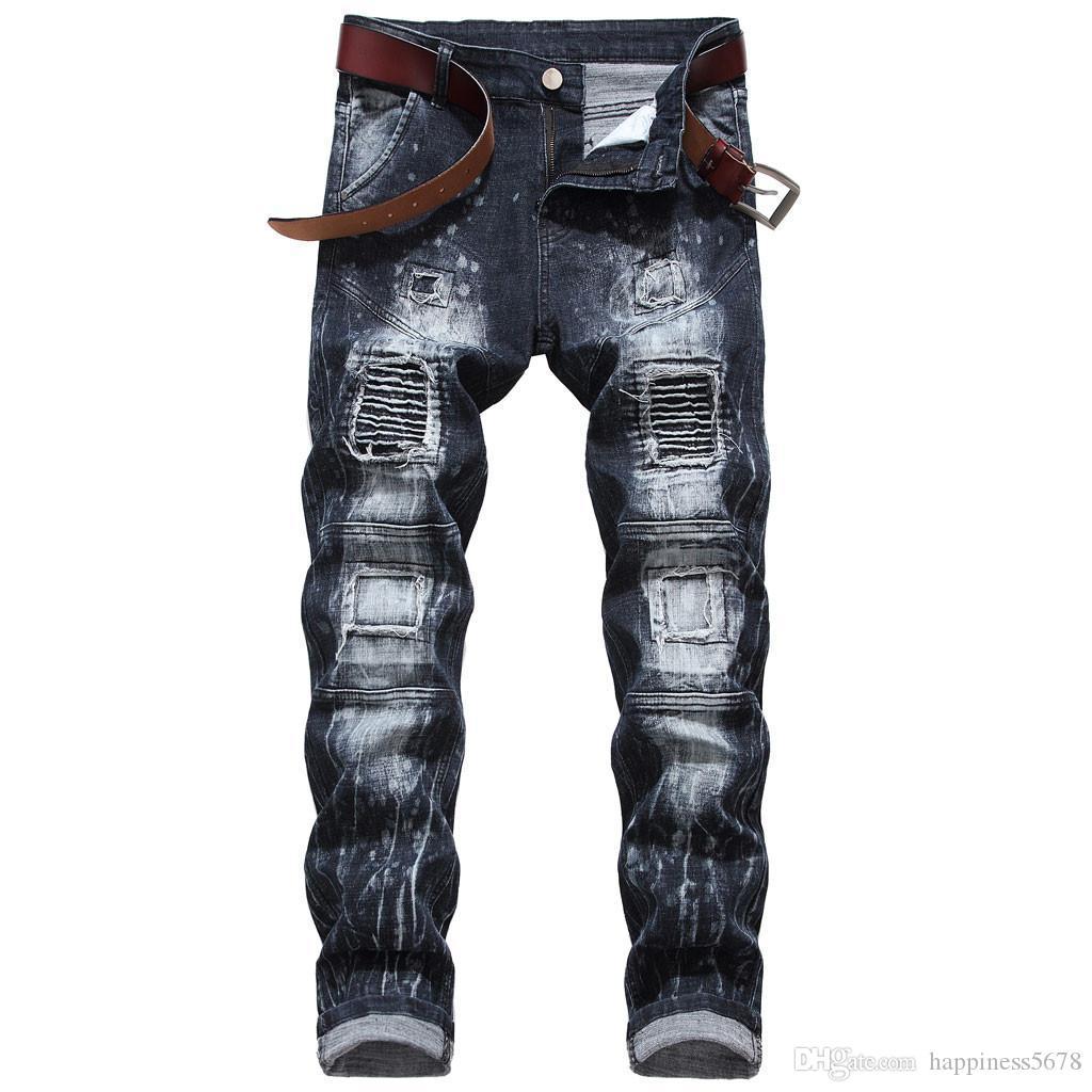 Mens neue Art und Weise elastische Slim Fit Jeans Motorrad-Art-Patchwork-Denim-Hosen-Hose-Qualitäts-zerrissenen Jeans-Männer Stretch Pants