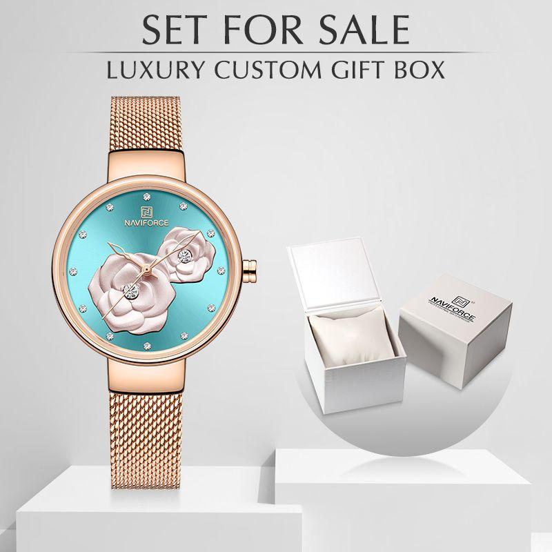 Nova Naviforce Rose Gold Women Watches Dress Senhoras relógios de quartzo com caixa de luxo Feminino relógio de pulso relógio de relógio