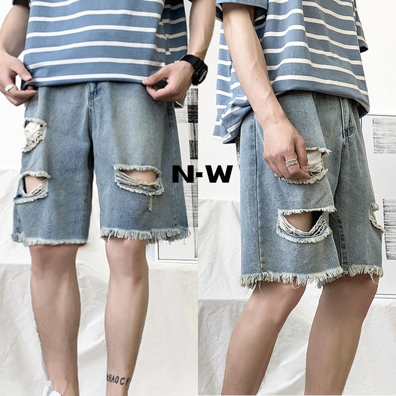 iiDossan Hole Denim Shorts 2020 Estate Nuovo Regular Fit foro brevi jeans degli uomini superiori casuali shorts in denim Hip Hop Pantaloni T200606