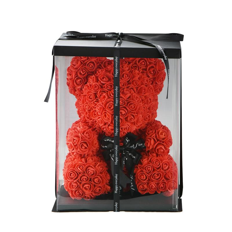 25 / 40cm Decoração dos presentes do casamento de Rosa do partido Romantice Artificial Rose urso Teddy Bear Flores dos namorados para mulheres guirlanda