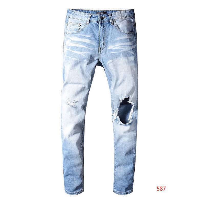 Designer Mens Jeans en détresse Découpé Biker Jeans Slim Fit Mens de luxe Denim Jeans Nouvelle marque Fashion Streetwear Designer Pants