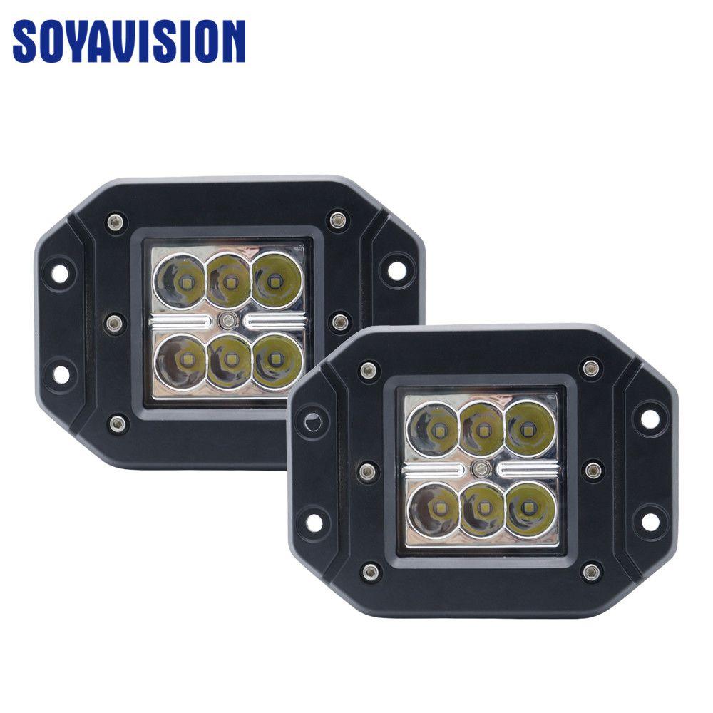 2 Pcs 48W LED Work Light Bar Spot Pods Offroad Truck SUV Car Fog Driving Lamps