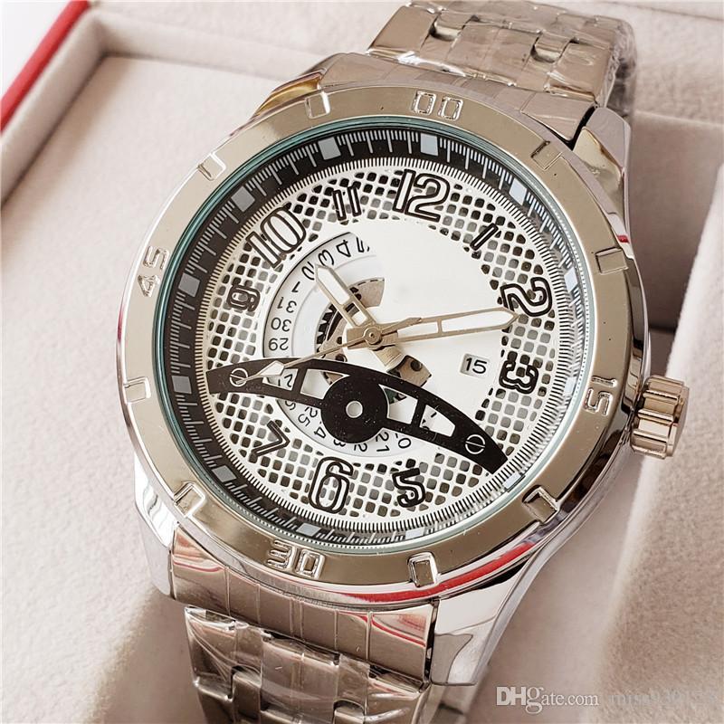 f48c54856 Boss watches 47mm men luxury gold watch silver watch Brand stainless steel  waterproof quartz movement skeleton ...