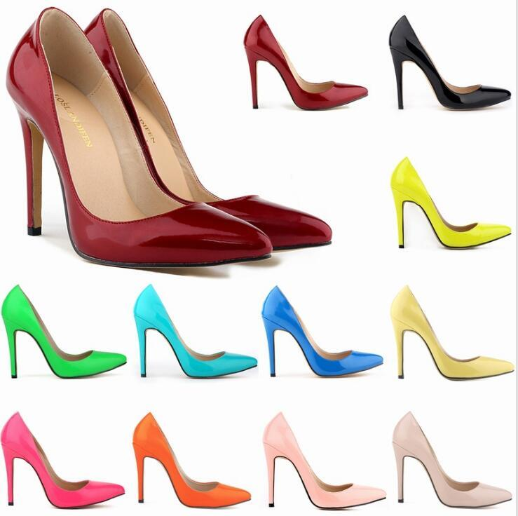 New Designer Fashion Women Patent Leather Poined Toe Pumps 110mm High Heels Shoes Wedding shoes party girls sexy pointed Dance wedding shoes