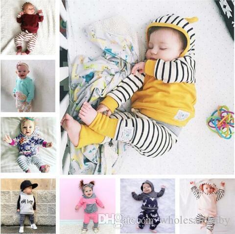 Bebê Xmas Elk Hoodies Calças Suit Crianças roupas de grife Imprimir Listrado Floral INS Roupa Set Crianças animal A6241 manga comprida Outfits presente