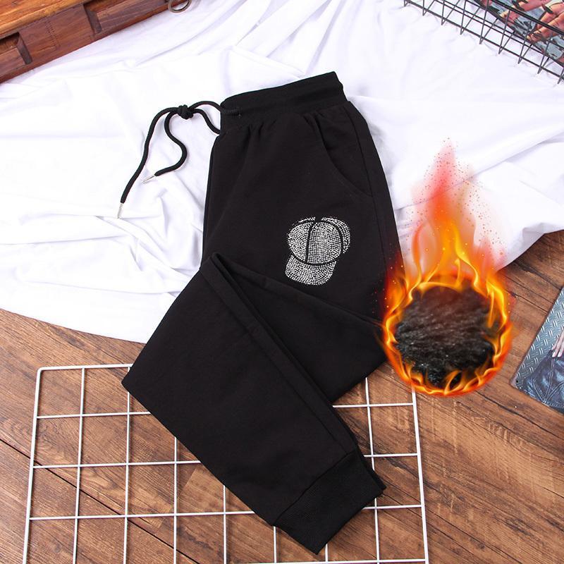 DONAMOL Artı boyutu Kadınlar Sweatpants ve Koşucular 2020 Kış Casual Sıcak Kalın Harem Pantolon İpli Pantolon Siyah uzun Pantolon T200622