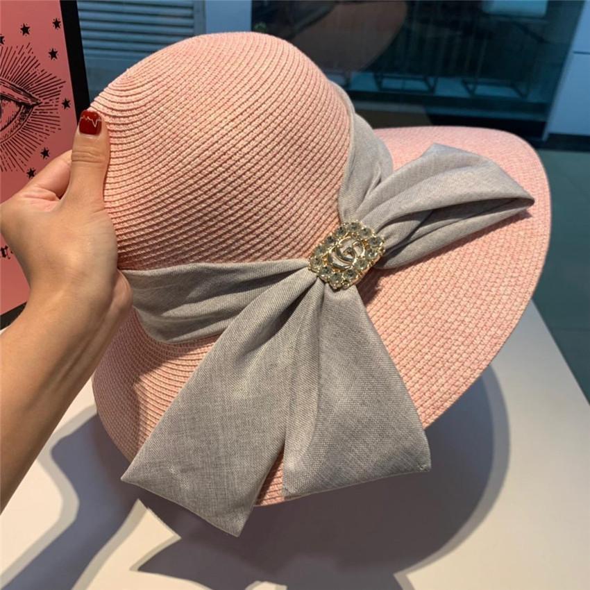 las mujeres del verano del sombrero de la marca Amplia carta diseñador de sombreros casuales de la moda del borde de los sombreros sombrero fresco bola de ocio al aire libre con la caja de tapas