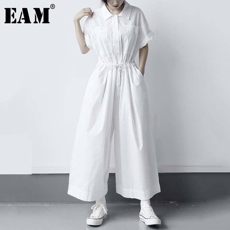 [EAM] Loose Fit Donne lungo bianco di grande formato tuta Nuova vita alta Pocket Stitch pantaloni marea moda Primavera Autunno 2020 1W285