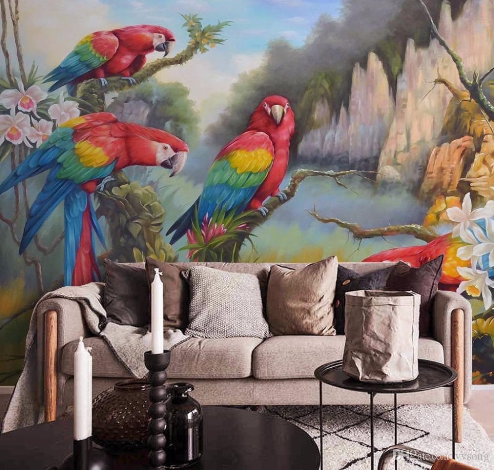 3D Wallpaper Chinese Flowers Birds Mural Bedroom Living Room 8d Modern Hand-painted Decorative New Design Texture Wallpaper