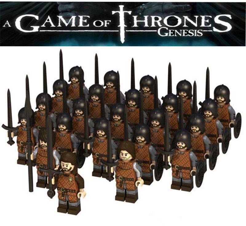 Mini figuras DR.TONG Juego de tronos Figura de acción Eddard Stark Lanza Infantería Bloques de construcción Ladrillos Juguetes para niños K0211