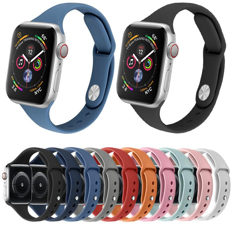 İWatch Series 5 4 40mm 44mm Apple İzle 5 4 3 2 1 38MM 42mm Grupları Kauçuk Watchband kemeri için Yumuşak Silikon Spor Band