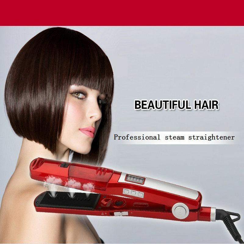 vapor profesionales plancha de pelo de hierro plana rápido enderezamiento eléctrico de alta calidad de las planchas de titanio de cerámica 220-240V ondulador de pelo