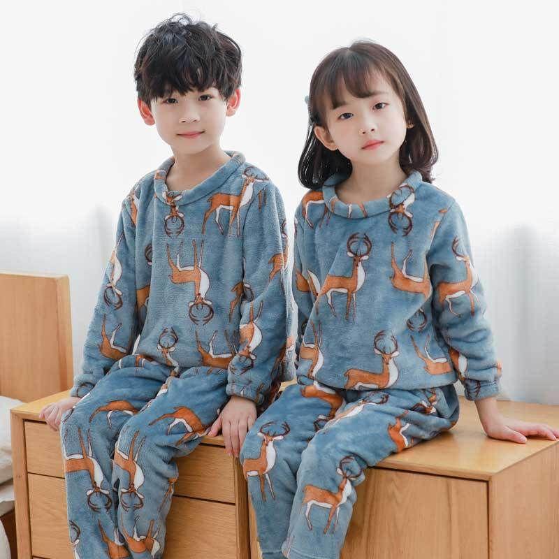 Children Winter Pajamas Sets Cartoon Style Kids Warm Sleepwear Baby Girls Boys nightwear Children Pajamas Sets For Girls 3-12