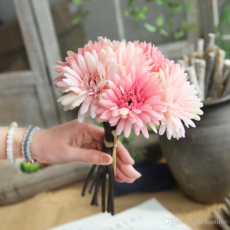 120Lots Fashion Artificial Slik Daisy Flower Home Wedding Party Favor Decoration Real Touch Gerbera Flowers Indoor Decor Bridal Bouquet