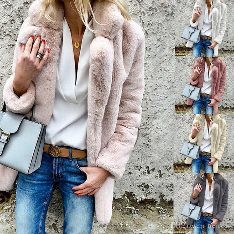 Women Winter Warm Coat New winter jacket coat women turn down neck thick white warm fur outwear clothes jackets women coats chaqueta mujer