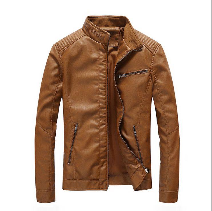 New autumn spring mens standard Europe USA Size leather jacket black leather biker jacket Rock n roll Jacket for Man