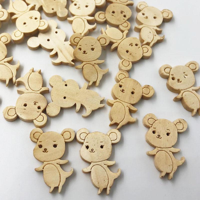 300pcs 18 * 25 mm souris bouton bois accessoires couture de couture décorative boutons en bois scrapbooking pour vêtements Artisanat WB584