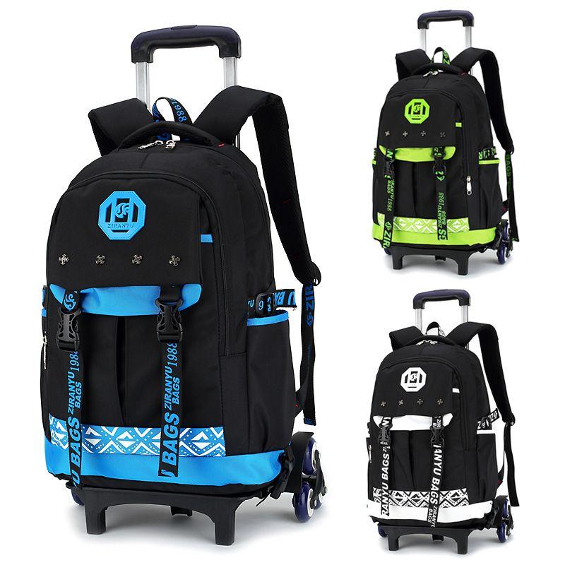 Children Wheeled School Bag for Boys Girls Kids Trolley Backpack Waterproof Book Bags with 2/6 wheels rucksack rolling mochilas