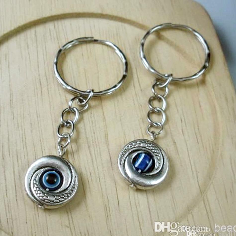 Heta! 50st Tibetansk Silver Evil Eye Kabbalah Charm Belt Kedjor Key Ring 15 x 65mm DIY Smycken