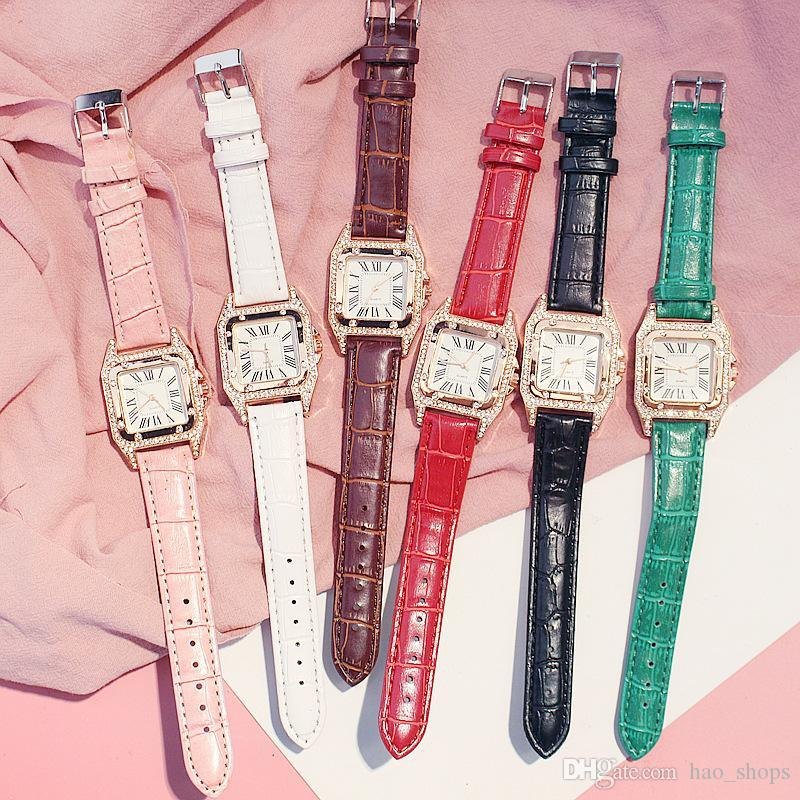 Fashion Women Watch PU Leather Band Quartz Watches For Ladies Dress Wristwatches Roman Numerals Analog Wrist Watch Bracelet Christmas Gift