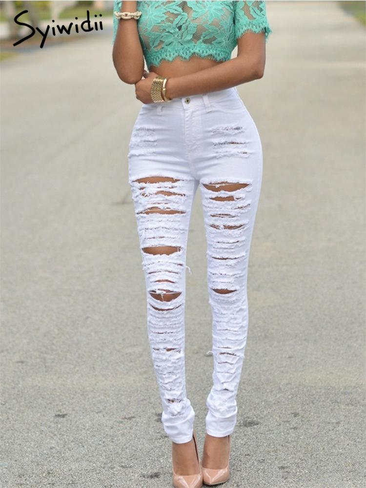 white jeans women stretch high waist pencil sexy pants for women clubwear black skinny trousers ripped denim pant street style