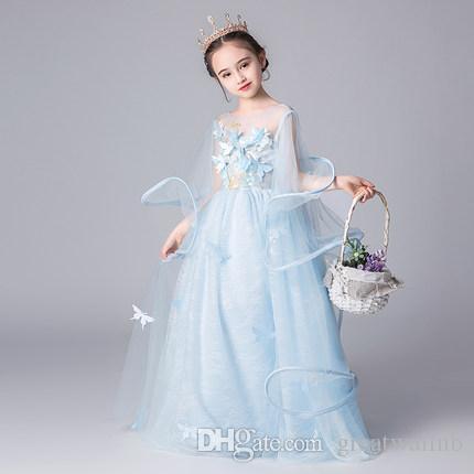Freie Verschiffen Kinder Mädchen rosa / hellblau / Champagner Schmetterling Prinzessin Bühne Kostüm mittelalterliche Renaissance-Kleid-Kleid Halloween