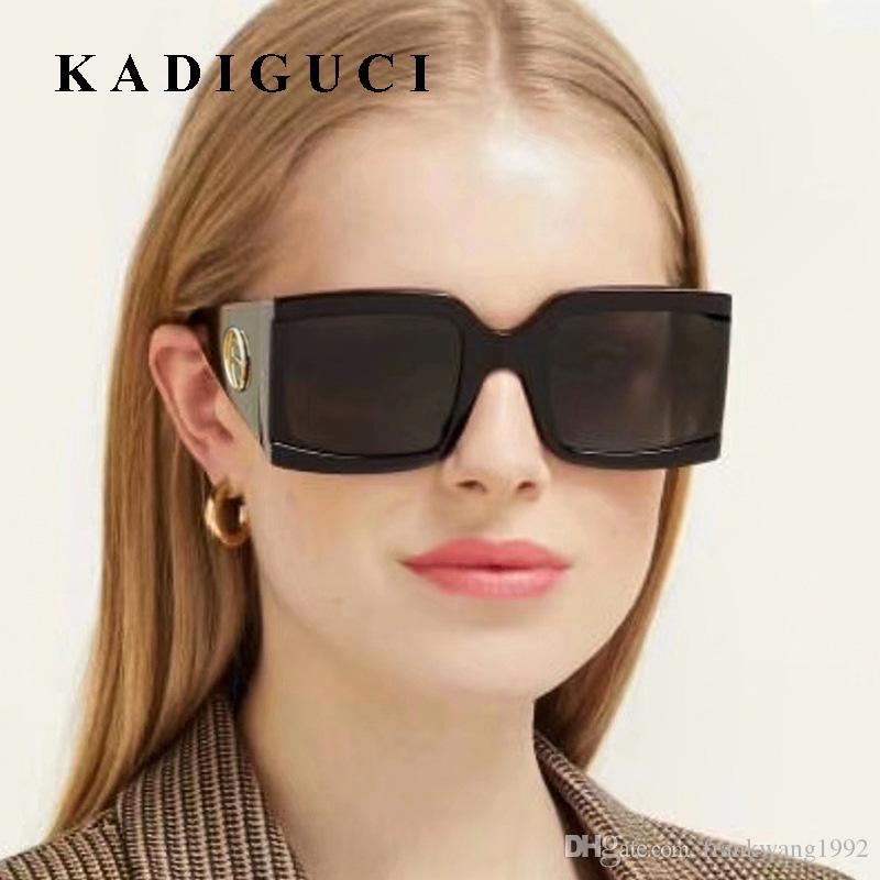 Kadiguci Brand New Fashion Woman Shades Square Frame Солнцезащитные очки Мужчины Женщины Мужчины Качество Очки Урожай УВ400 Высокий Большой K356 Wbrit