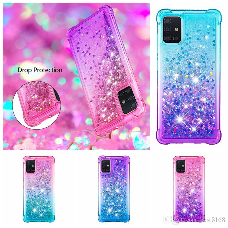 Quicksand Soft TPU Case For Samsung S20 Plus Ultra A51 A71 A10S A20S A30S A50S A10 Shockproof Heart Gradient Luxury Bling Liquid Back Cover