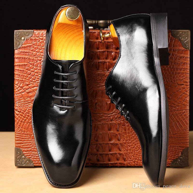 scarpe degli uomini di affari di Oxford da sera in pelle vestito progettista scarpe da uomo signori moda scarpe zapatos italianos hombre sukienki wieczorowe Cuero