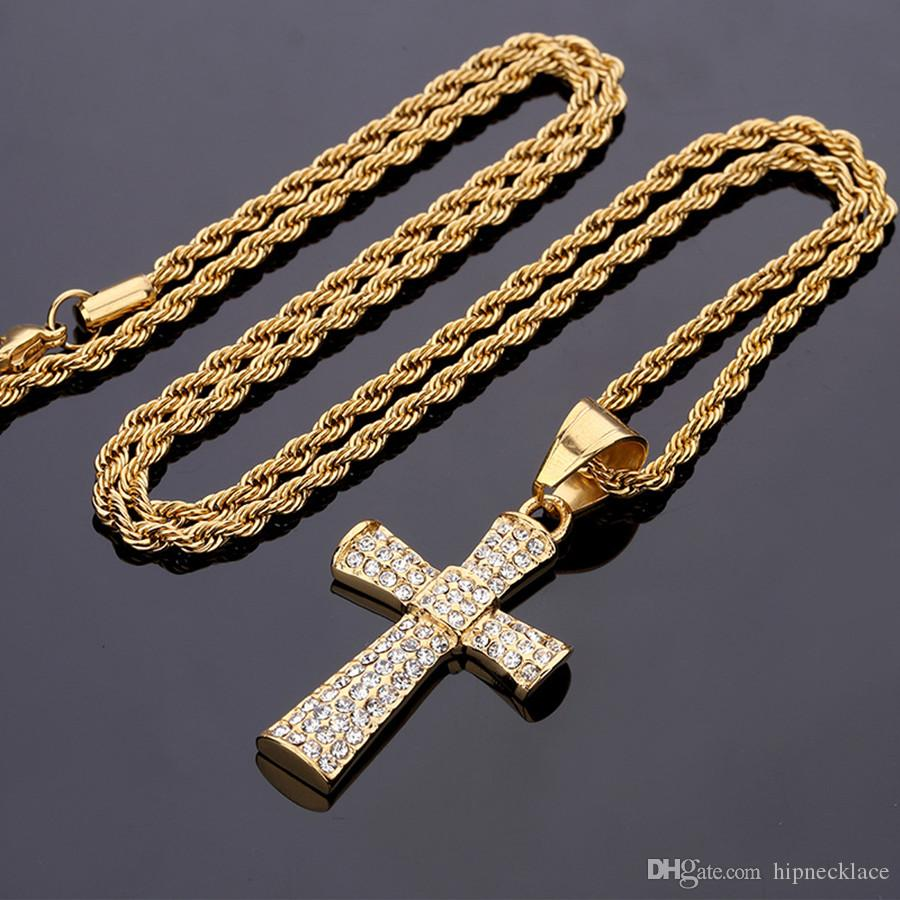 Fashion Cross Necklace Hip Hop Stainless Steel Pendant Chain Men Jewelry Decor