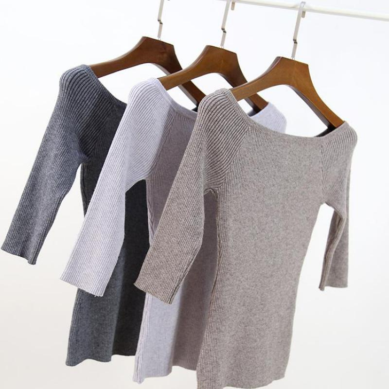 2019 Spring New Arrival Korean Style Slash Neck Sweater Women Slim 3/4 Sleeve Knitted Pullover 18 Colors Available Free Shipping