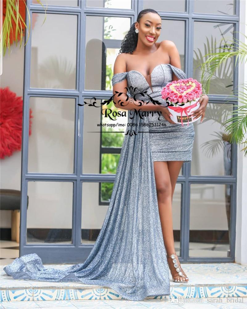 Argent Sparkly pailletée court robes de cocktail 2020 épaules taille plus bas Mini Longueur Peplum Vestidos de fiesta Robes de soirée formelles