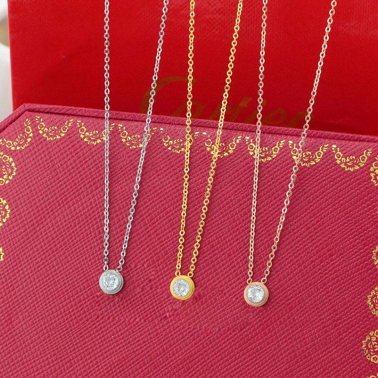 Singel CZ diamond Pendant Rose Gold Silver Color Necklace for Women Vintage Collar Costume Jewelry only with bag