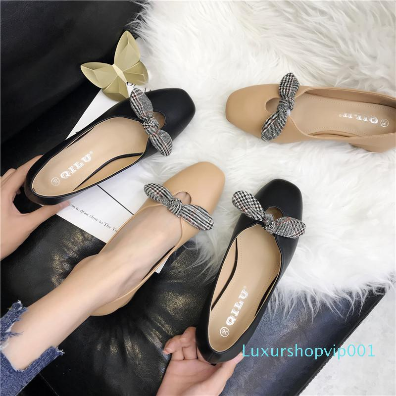 Pretty2019 Single Bow Grandma Shoe Woman Coarse Fairy Real Shoes With Square