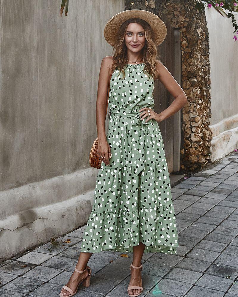 새로운 패션 숙녀 보호 드레스 A 라인 오 넥 민소매 활 대시 맥시 데스 여성 Foral 인쇄 여름 드레스 Vestidos 드 Verano
