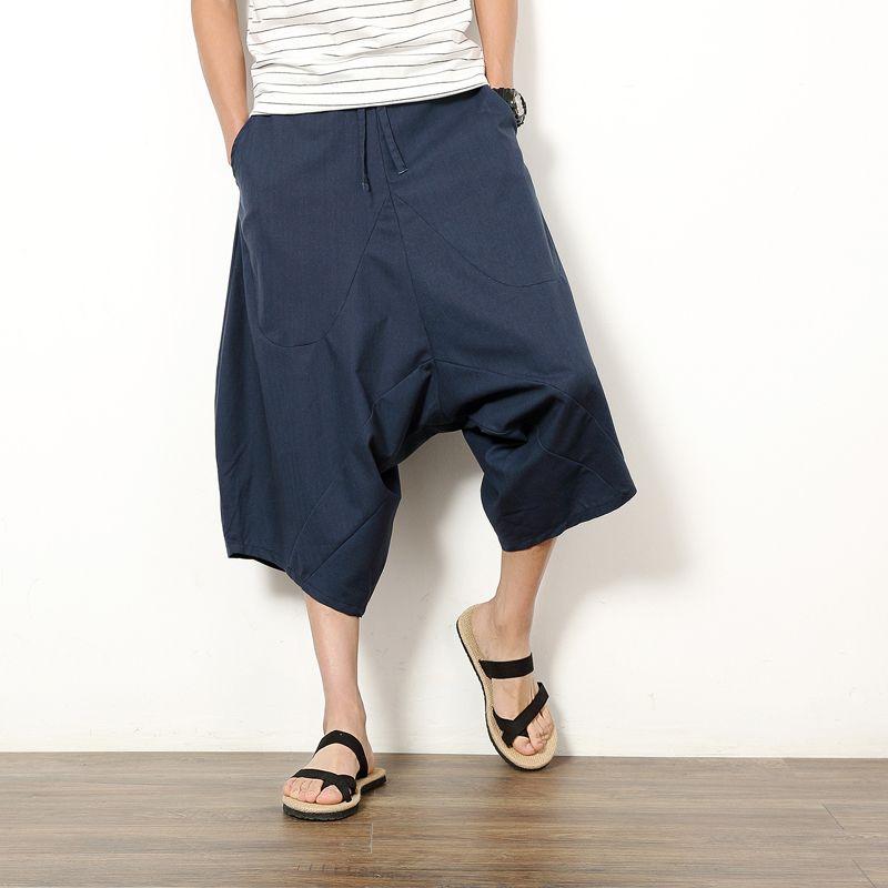 2017 pantalones de lino de algodón japonesa pantalones bajos entrepierna pierna ancha de la entrepierna colgante