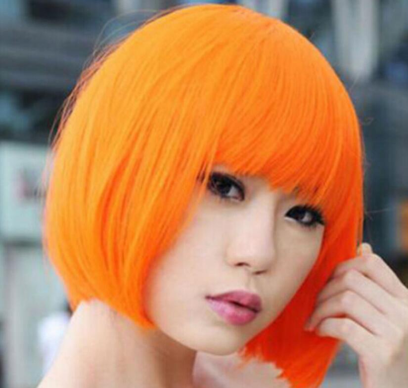 Peluca de Cosplay de Bob naranja Peluca de disfraces Fiesta Disco Pelucas de pelo corto recto completo