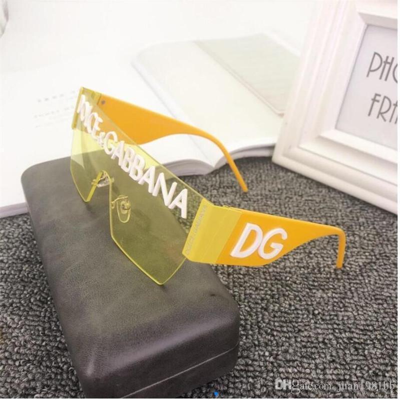 2020 Luxury Fashion Designers Largo Metallo Occhiali da sole per le lenti di vetro Donna Uomo occhiali da sole di protezione UV 050