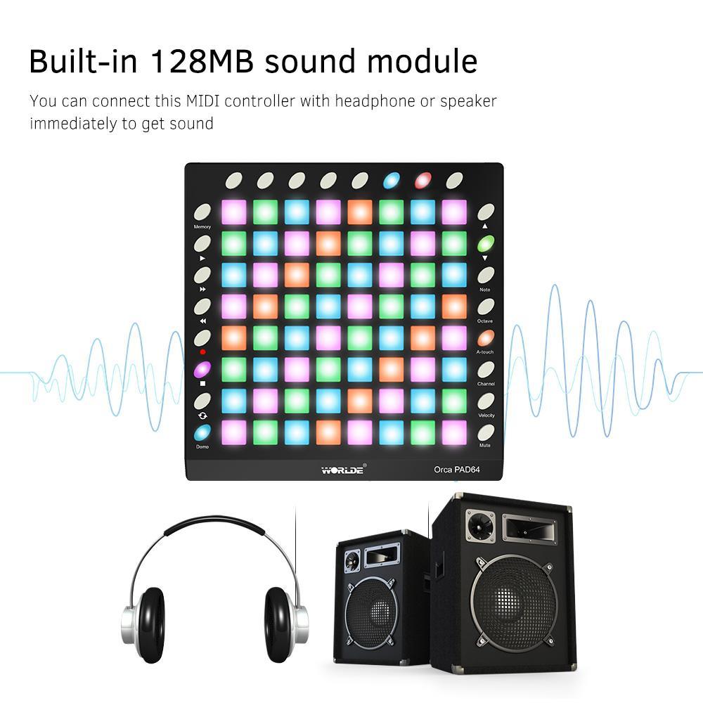 WORLDE ORCA PAD64-A Portable USB MIDI Drum Pad controlador 64 RGB retroiluminado Pads 24 Botões Built-in 128MB módulo de som com cabo