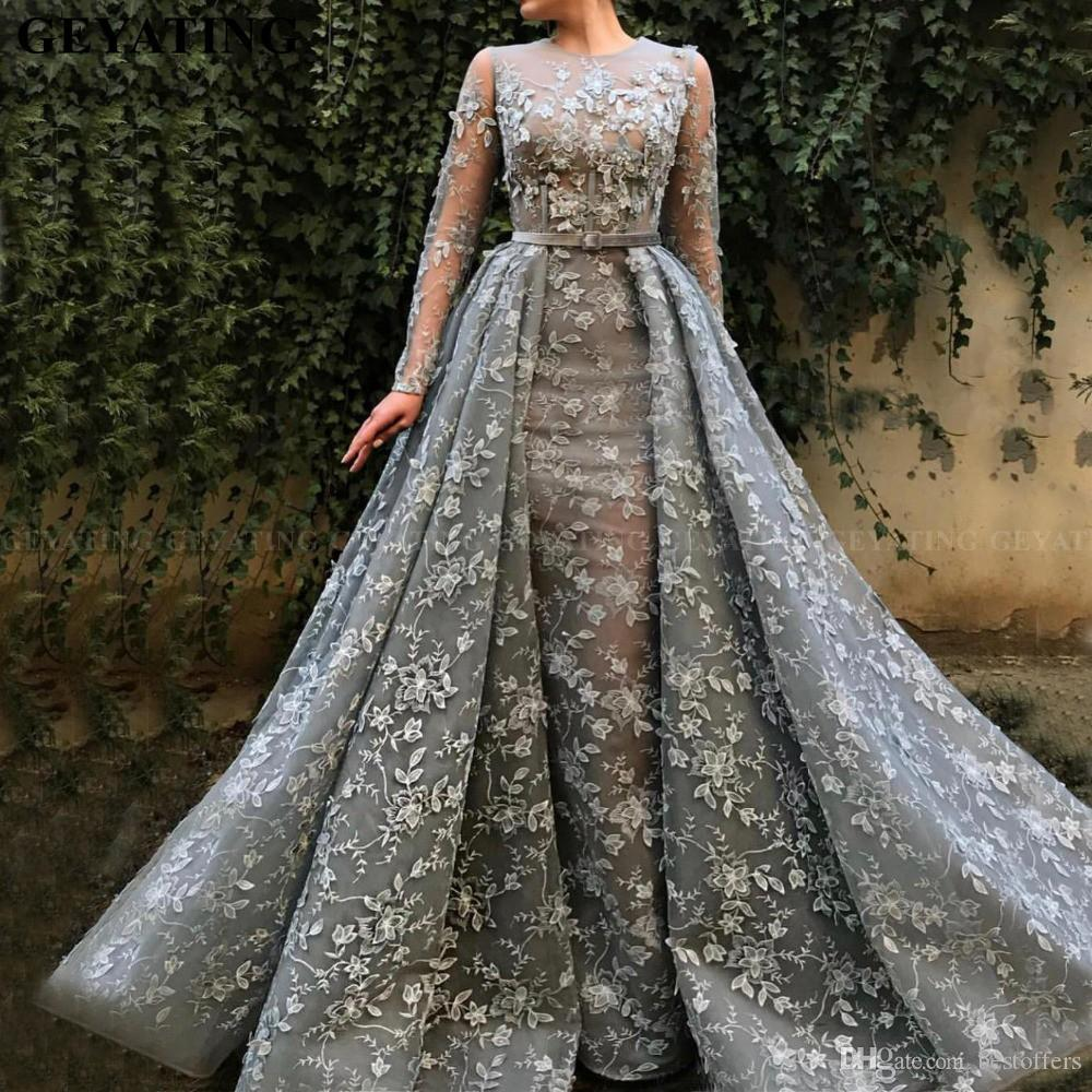 2020 árabe gris de encaje de manga larga Overskirt Vestidos de baile con falda desmontable Apliques florales 3D Dubai Pink Vestidos de noche formales