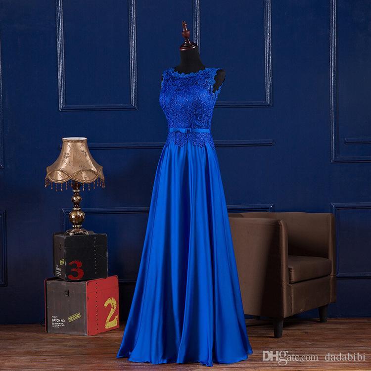 Femme Robes de soirée encolure dégagée lacent longue en satin bleu royal Bourgogne parole longueur formelle robe de demoiselle Robes longues Robes