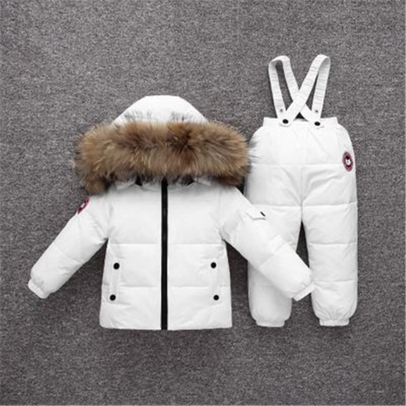 Moda inverno solido di colore bambini che coprono insieme tuta antivento impermeabile caldo vestiti dei capretti anatra piumino + Warm Pants 2Pc