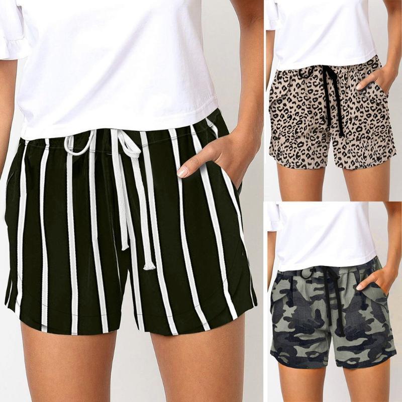 Nueva mujeres de los cortocircuitos deportes de verano caliente del leopardo de rayas de camuflaje ata para arriba la altura de la cintura elástico de playa pantalones cortos casuales cosas baratas S-XXL