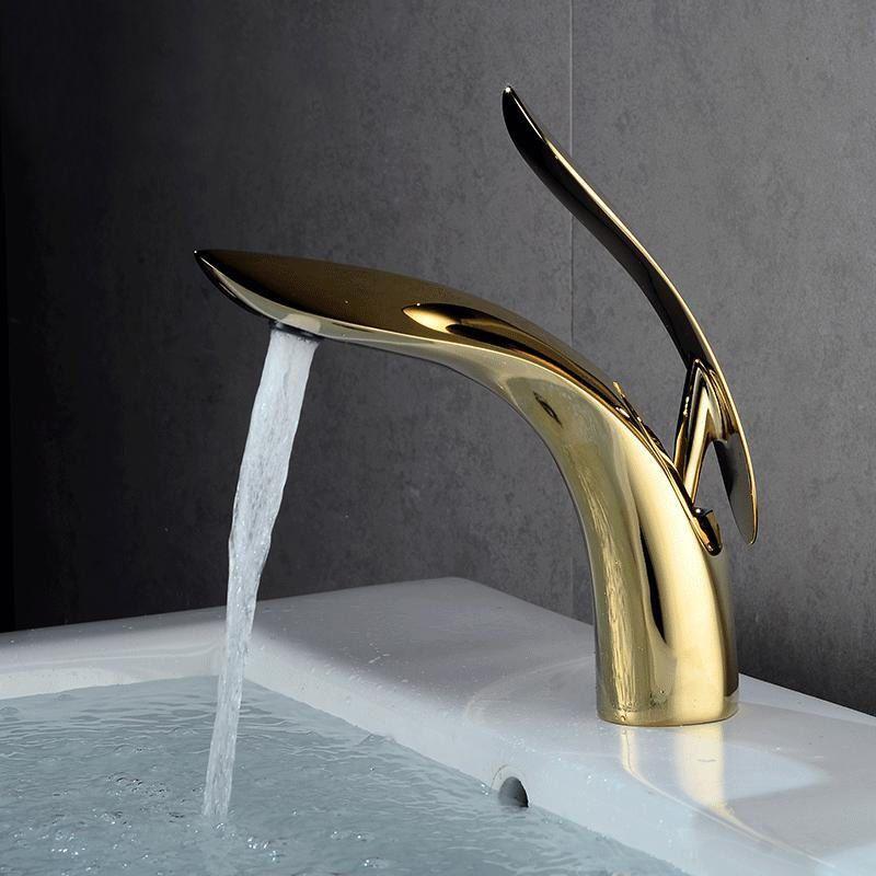 cuivre salle de bains robinet d'évier Déroulez Robinet de lavabo en céramique Valve Pulvérisateur eau chaude et froide Mélangeur eau du robinet