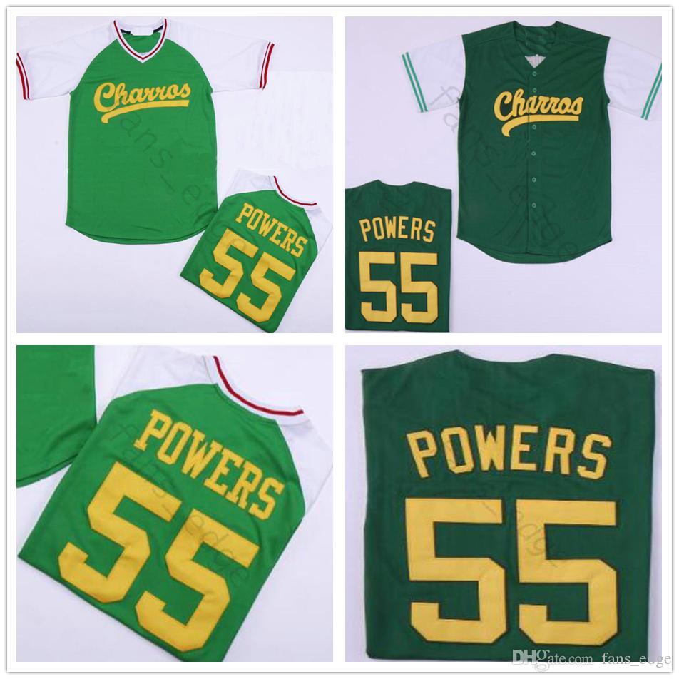 Mens Kenny Powers Eastbound e Down Mexicano Charros Camisola de Beisebol Verde Eastbound Down Kenny Powers # 55 Barato Costurado Camisas Camisas