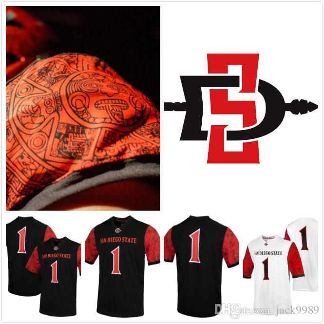 NCAA San Diego State Aztecs #1 College Replica Custom number name Football Jersey Black white